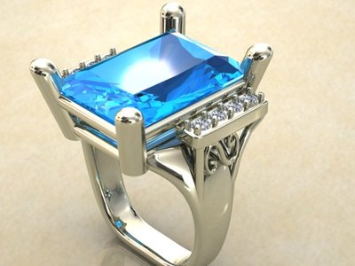 CAD Render of a 20 ct. London Blue Topaz white gold ring