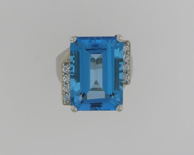 14K white gold 20 ct. London Blue Topaz and Diamond Ring